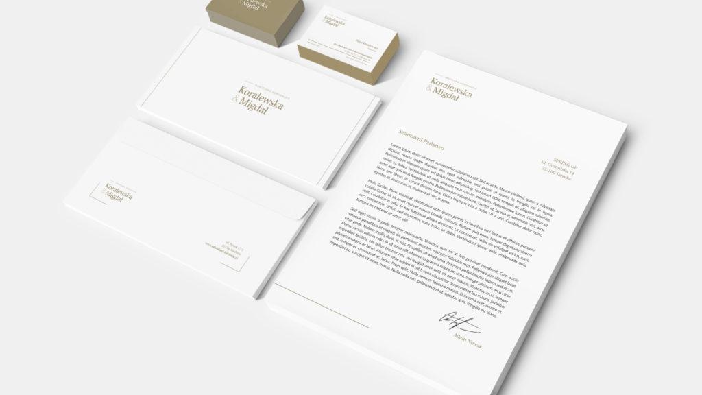 Koralewska & Migdał – papier firmowy i wizytówki